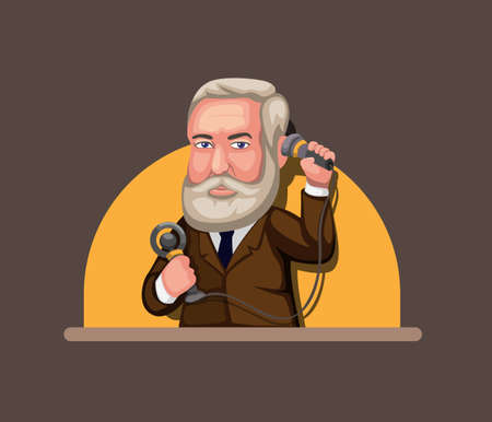 man holding classic telephone symbol for inventor of communication technology concept in cartoon illustration vector