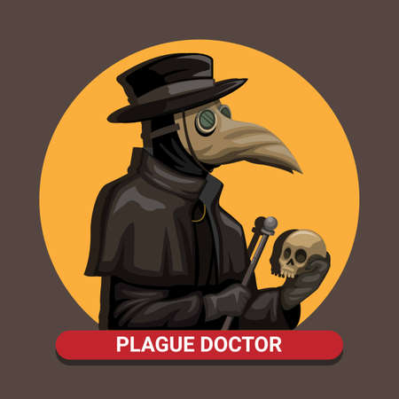Black death Plague Doctor wear Bird Mask Costume holding skull and rod in medieval concept in cartoon illustration vector