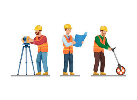 Construction worker icon set architect and enginering surveying and holding blueprint pose activity symbol concept in cartoon illustration vector