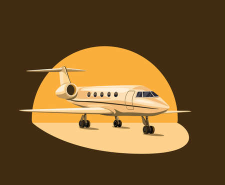 Private jet airplane on sunset concept in cartoon illustration vector