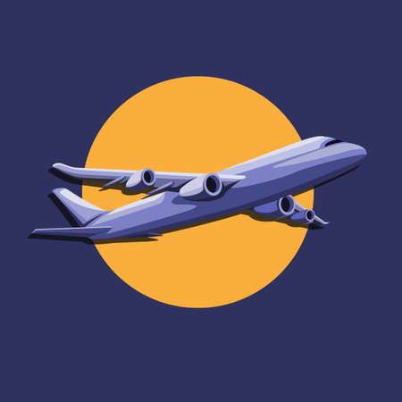 Airplane flight with sun symbol concept in cartoon illustration vector
