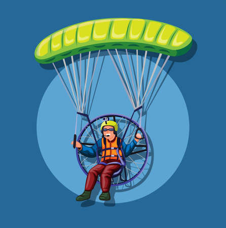 Powered paragliding, man fly in parachute with engine concept in cartoon illustration vector