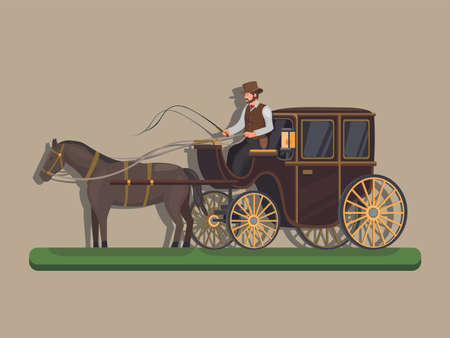 Horse drawin carriage. classic transportation powered by horse concept in cartoon illustration vector