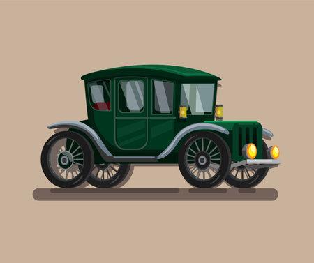 19th Century retro car. old electric car, steam car symbol concept in cartoon illustration vector