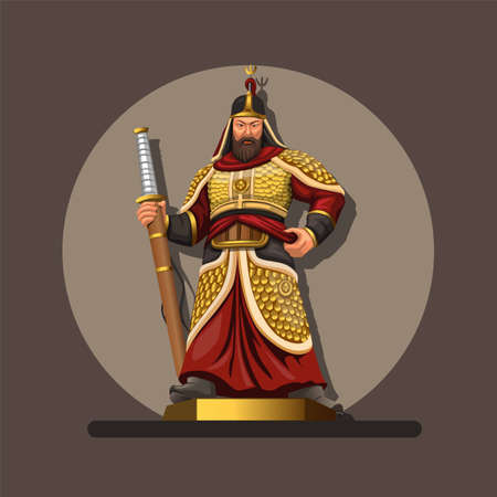Figure of admiral yi sun, he was a Korean admiral and military general famed for his victories against the Japanese navy during the Imjin war in the Joseon Dynasty. illustration in cartoon vector Ilustración de vector