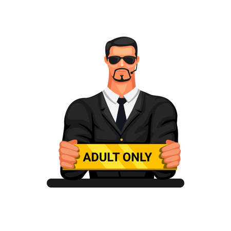 Man in blazer holding adult only sign. bodyguard symbol character mascot cartoon illustration vector Vektorgrafik