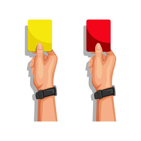 soccer referee hand showing yellow and red card symbol set cartoon illustration vector