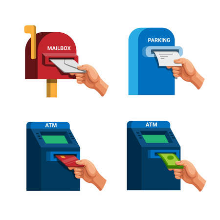 Hand take mail, money, credit card, and parking ticket icon set concept in cartoon illustration vector