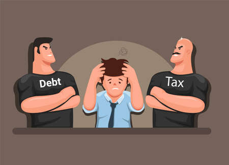 Stressed man with tax and debt collectors, finance management business symbol cartoon illustration vector