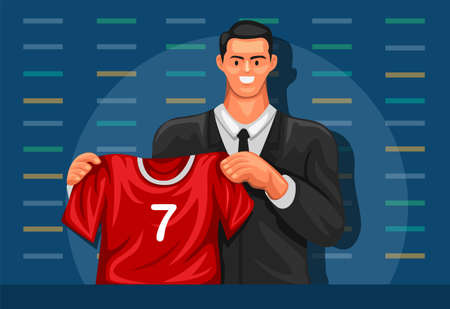 Sport player launching new club and jersey in press conference concept in cartoon illustration vector