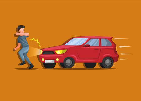 Car hit people, hit and run car crash and accident illustration cartoon vector Ilustração Vetorial