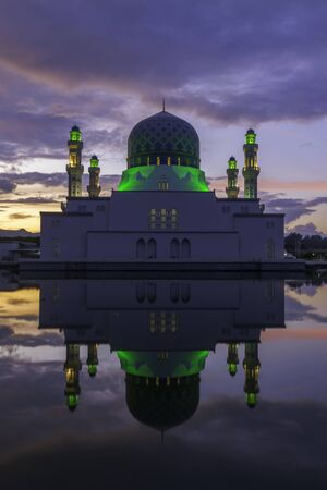 kota kinabalu: Floating Mosque of Kota Kinabalu City Stock Photo