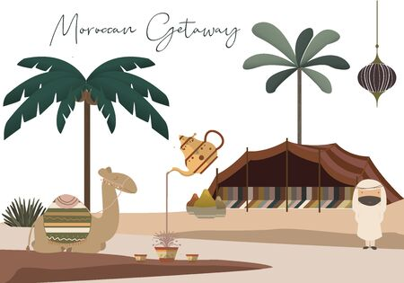 Moroccan Getaway Vector Set - Arabian Man, Seated Camel, Palm Trees, Teapot and Teacups, Tent, Spices, and More