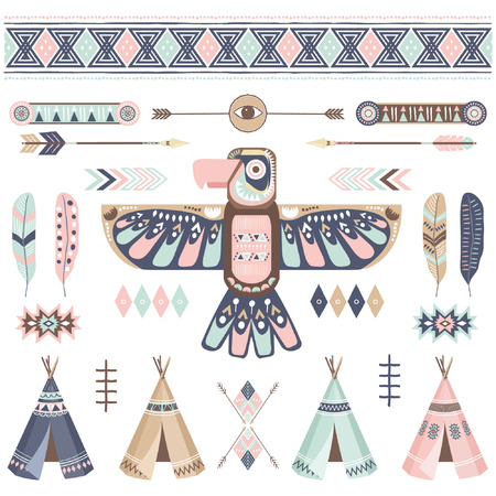Tribal Thunderbird Elements in clip art cartoon illustration for sticker, scrapbook
