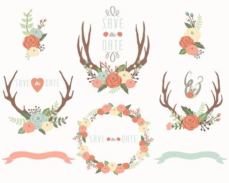 Floral antler elements Illustration