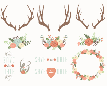 Floral Antlers Elements