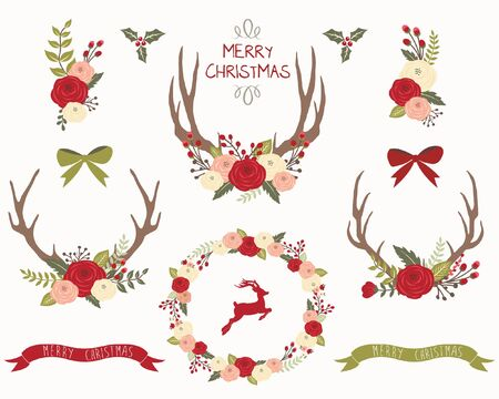 Floral Christmas Wreath Antlers
