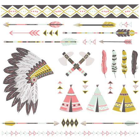 Tribal Native American Elements Illustration