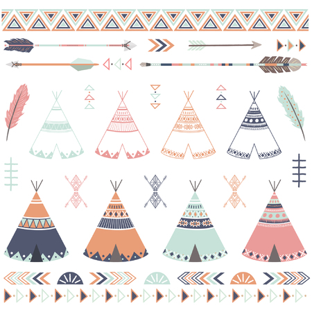 Tribal Teepee Arrow Collections Çizim