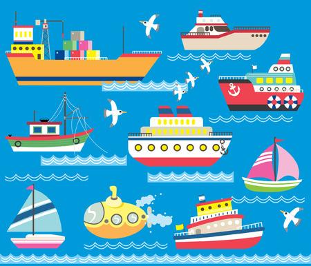 Cute Sea Transportation Collection Illustration