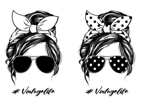 Messy Bun Hair Sunglasses Vintage Life Vecteurs