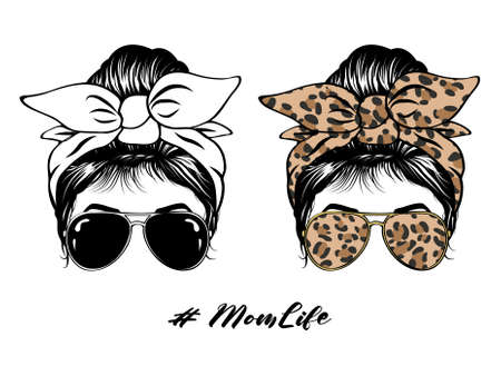 Messy Bun Hair Sunglasses Leopard Print Hair band Vintage Life