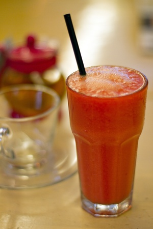 A Glass of Watermelon Juice Smoothie Stock Photo