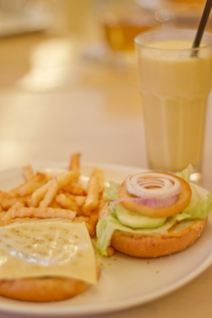 quencher: A Vegetarian Burger with Mango Lassi Drink