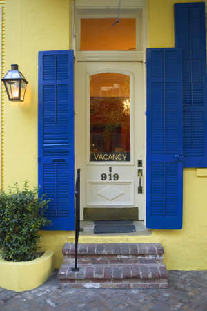 orleans parish: Old freshly painted doors of hotel in French Quarter near Bourbon Street in New Orleans, Louisiana