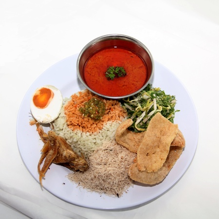 Malay nasi kerapu on white background Stock Photo