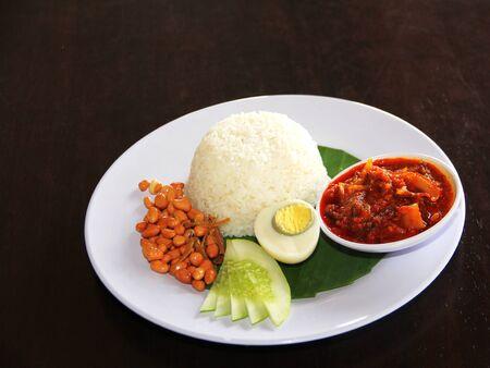 Malay steam rice with sambal