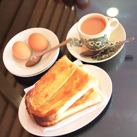Chinese style breakfast tea-toast-egg