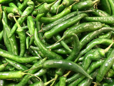 detail: A lot of green chili Stock Photo