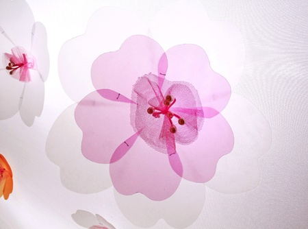 artistic: pink floral on white background