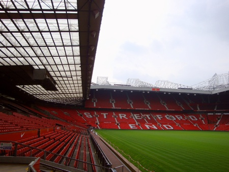 stadia: MANCHESTER, ENGLAND  The Old Trafford stadium in Manchester, England  Old Trafford is home of Manchester United football club Stock Photo