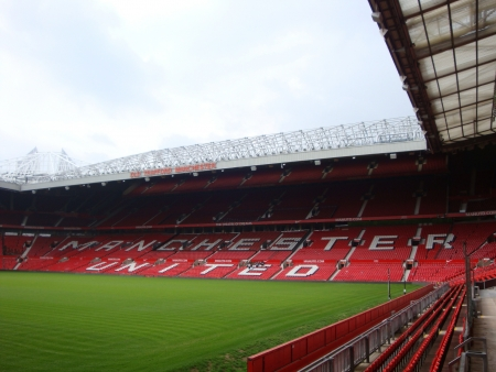 united people: MANCHESTER, ENGLAND  The Old Trafford stadium in Manchester, England  Old Trafford is home of Manchester United football club Stock Photo