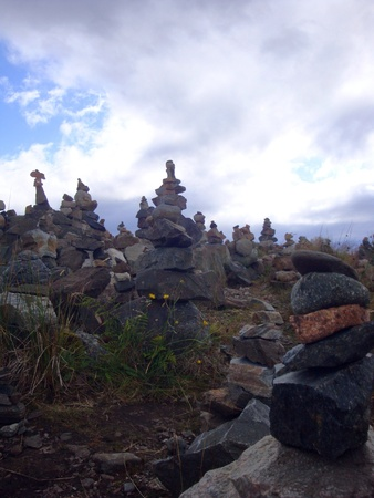 stacking stone on hill