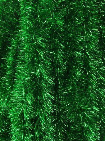 green glitter tinsel