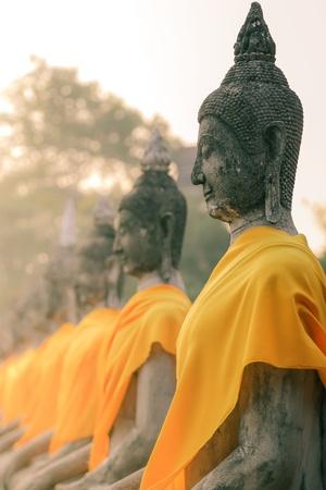A row of seated Buddha statues at Wat Yai Chaimongkol, Ayutthaya