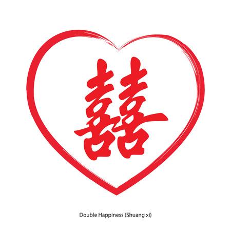 carácter hinese felicidad doble con el corazón. Xi Shuang, chino tradicional diseño del ornamento, comúnmente usado como decoración y el símbolo del matrimonio.