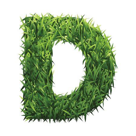 grasslands: Alphabet D of green grass. A lawn alphabet with gradient light green to dark green.