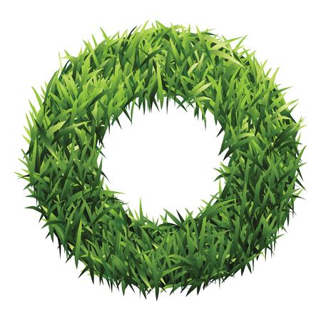 grasslands: Alphabet O of green grass. A lawn alphabet with gradient light green to dark green. Illustration