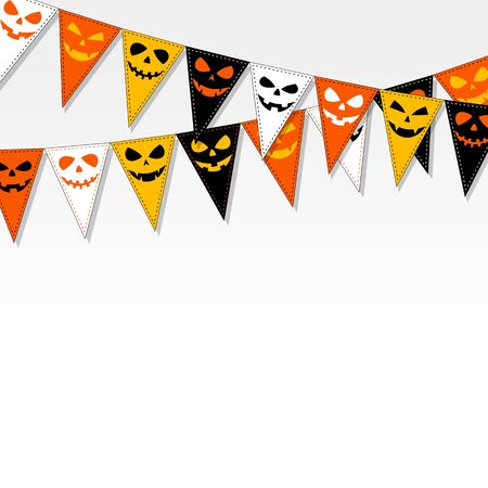 bunting flags: Illustration of Halloween bunting flags on grey gradient background