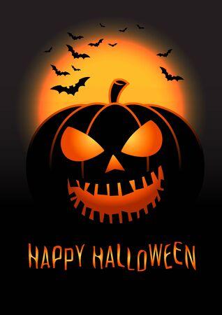 scary pumpkin: Halloween pumpkin vector background. Illustration of Halloween pumpkin with Moon and bats in black background