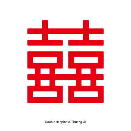 Chinese character double happiness in square shape. Chinese traditional ornament design, commonly used as a decoration and symbol of marriage. Çizim