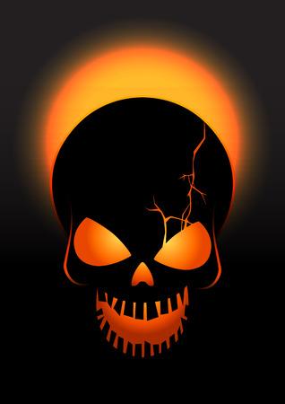 crack: Halloween crack skull vector background. Illustration of Halloween crack skull with orange and black colors.