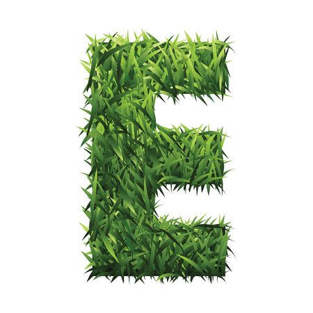 grassy field: Alphabet E of green grass. A lawn alphabet with gradient light green to dark green. Illustration