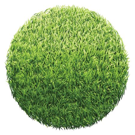 Circle of green grass. A lawn with gradient light green to dark green. Illustration