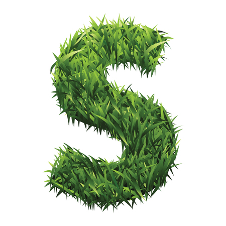 grassy field: Alphabet S of green grass. A lawn alphabet with gradient light green to dark green. Illustration