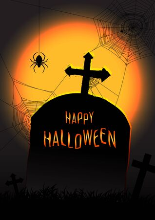 tomb: Illustration of Halloween concept with tomb spider and spider web on full moon background. Halloween tomb vector background. Illustration